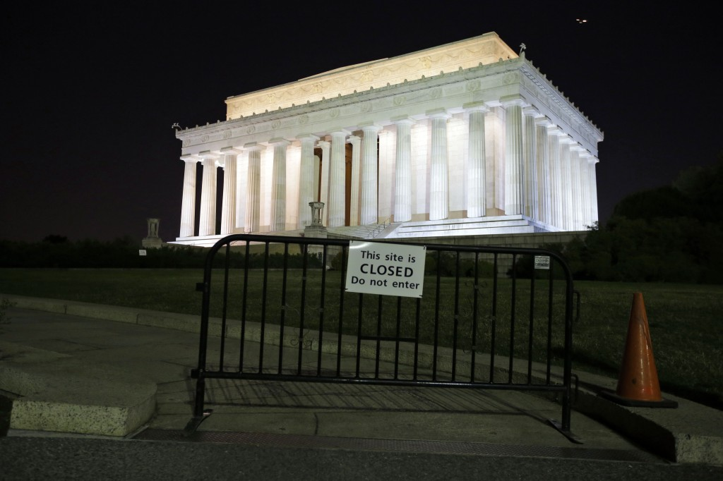 The Lincoln Memorial, and most of the federal government, is closed Tuesday, Oct. 1, 2013, in Washington. The museums that draw millions of visitors to the National Mall closed their doors Tuesday, memorials were barricaded and trash will go uncollected in the nation's most-visited national park due to the first government shutdown in 17 years.