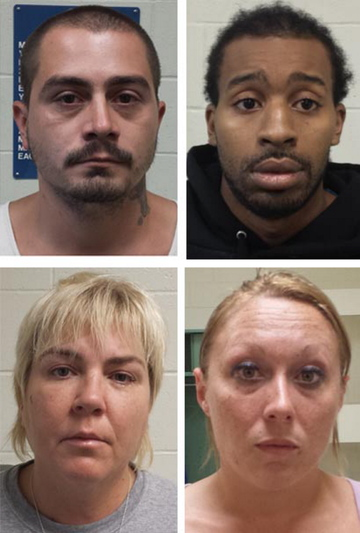 Facing charges of selling crack cocaine are, from left to right, top to bottom, Aaron Brown, Earl Guerro, Darlene Court and Kimberly Pierce.
