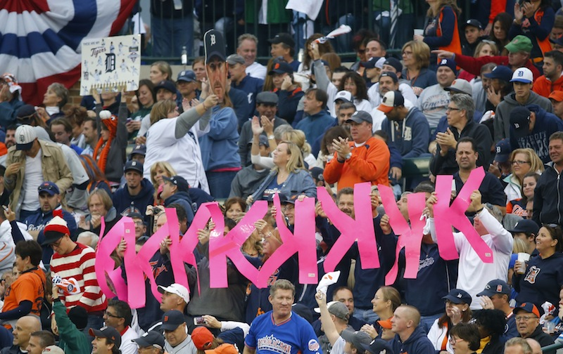 Fans hold up K signs after Detroit Tigers' Justin Verlander strikes out Jarrod Saltalamacchia in the fifth inning Tuesday.