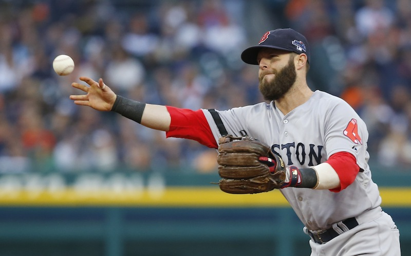 Dustin Pedroia throws out Detroit Tigers' Alex Avila in the fifth inning of Game 3 on Tuesday.