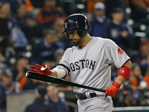 Boston Red Sox's Shane Victorino reacts after striking out in the ninth inning during Game 4 of the American League baseball championship series against the Detroit Tigers, Wednesday, Oct. 16, 2013, in Detroit. (AP Photo/Paul Sancya)