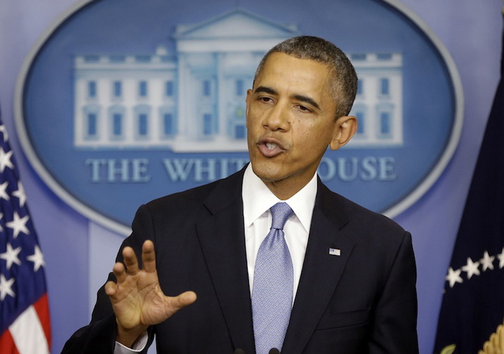 President Barack Obama speaks in the James Brady Briefing room of the White House in Washington.