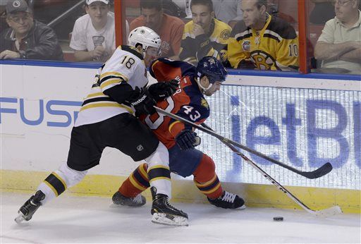 Boston Bruins right wing Reilly Smith (18) battles Florida Panthers defenseman Mike Weaver (43) for control of the puck in the second period of an NHL hockey game, Thursday, Oct. 17, 2013, in Sunrise, Fla. The Bruins won 3-2. (AP Photo/Alan Diaz)