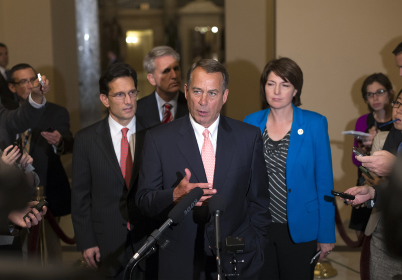 Speaker of the House John Boehner, R-Ohio, center, with House GOP leaders, speaks briefly to reporters, just after 1 a.m., Tuesday morning. Joining Boehner, from left, are House Majority Leader Eric Cantor, R-Va., House Majority Whip Kevin McCarthy, R-Calif., and Rep. Cathy McMorris Rodgers, R-Wash., the Republican Conference chair.