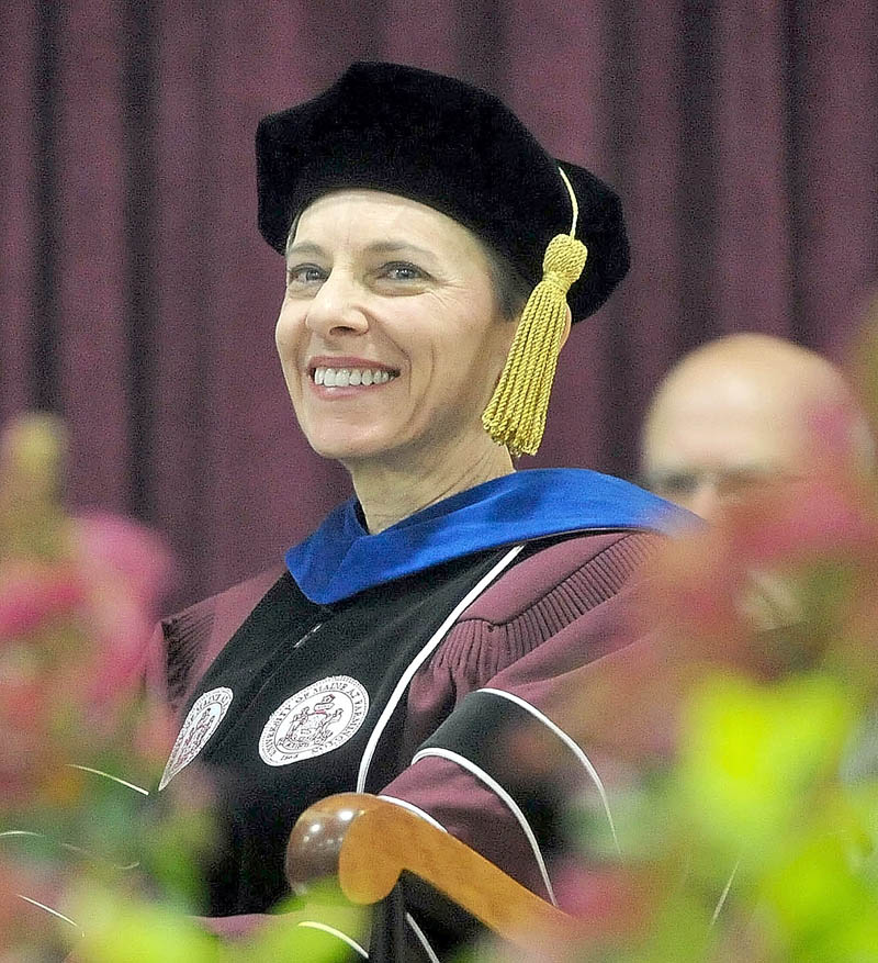 Kathryn A. Foster smiles during her inauguration as the 14th president of University of Maine at Farmington today.