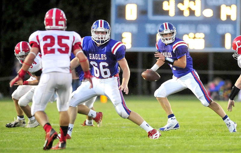 ON A ROLL: Messalonskee High School's Caleb Bean (66) has played a key role in the Eagles' turnaround this season. Messalonskee started the season 0-2 but has won three of its last four.