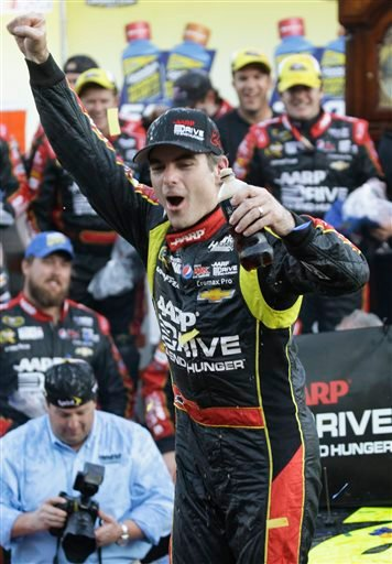 Jeff Gordon celebrates winning the NASCAR Sprint Cup race at Martinsville Speedway on Sunday in Martinsville, Va.