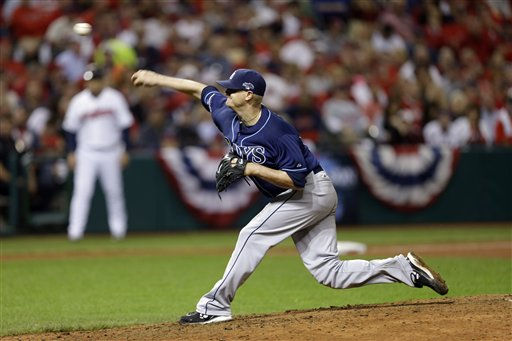 Tampa Bay Rays starting pitcher Alex Cobb delivers against the Cleveland Indians in the seventh inning of the AL wild-card baseball game Wednesday, Oct. 2, 2013, in Cleveland. (AP Photo/Tony Dejak) Progressive Field