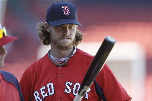 Boston Red Sox's Clay Buchholz looks at the bat during a baseball team workout at Fenway Park, in Boston, Tuesday, Oct. 1, 2013. The Red Sox host Game 1 of the AL divisional series on Friday, Oct. 4, against the winner of Wednesday's wild-card playoff game between the Cleveland Indians and Tampa Ray Rays. (AP Photo/Steven Senne)