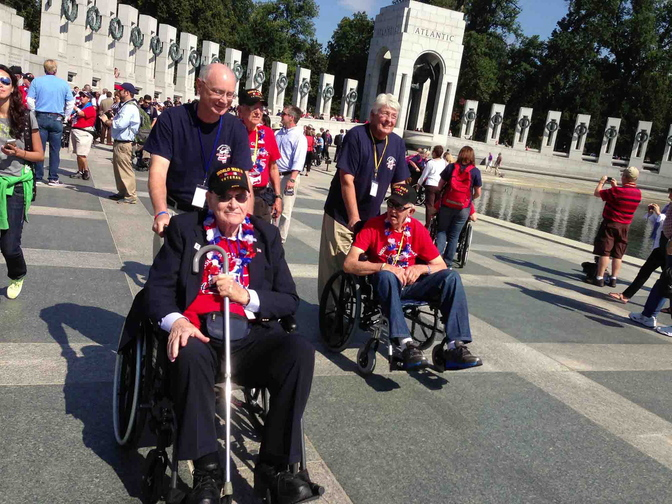 A group of veterans traveling from Mississippi manages to visit the World War II memorial in Washington, D.C., on Tuesday despite the government shutdown that closed all monuments.