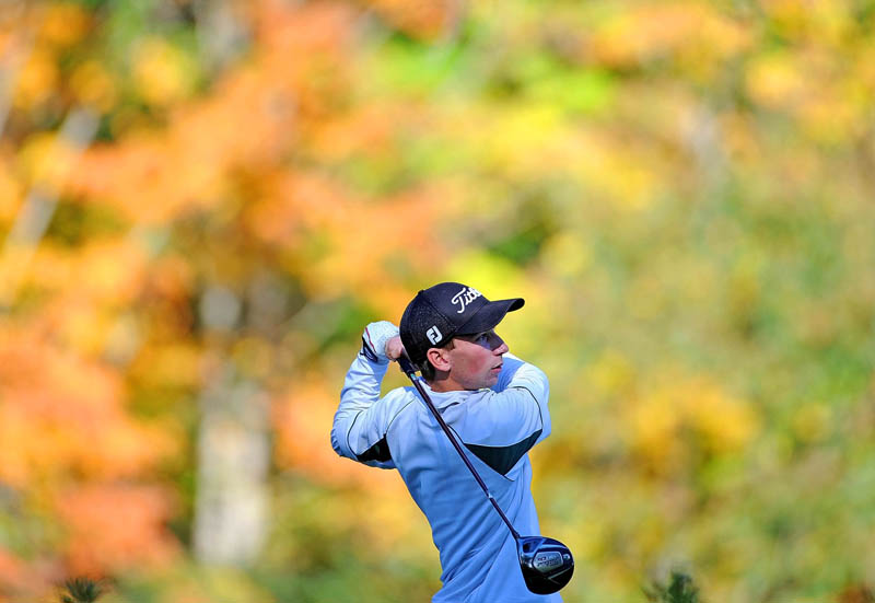 GOOD ROUND: Winthrop's Taylor Morang tees off on the 17th hole during the Mountain Valley Conference qualifier Wednesday at Natanis Golf Course in Vassalboro. Morang and teammate Adam Hachey shot 78 and were the low qualfiers for the individual Class C state championship.