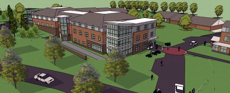 Work on a new 108-bed residence hall at Thomas College in Waterville is scheduled for completion in August 2014.