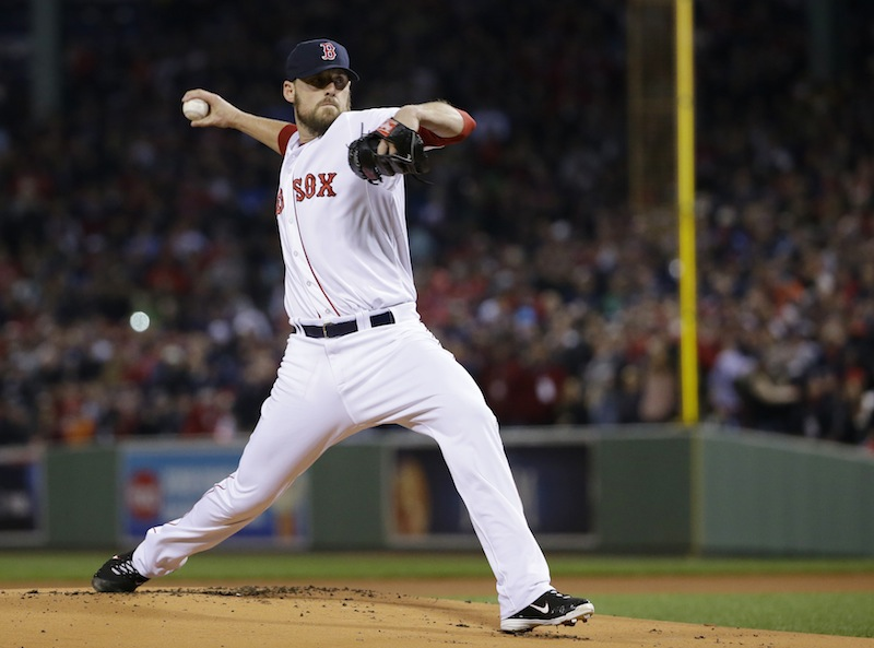 Boston Red Sox starting pitcher John Lackey throws during the first inning of Game 2 of baseball's World Series against the St. Louis Cardinals Thursday, Oct. 24, 2013, in Boston. MLB