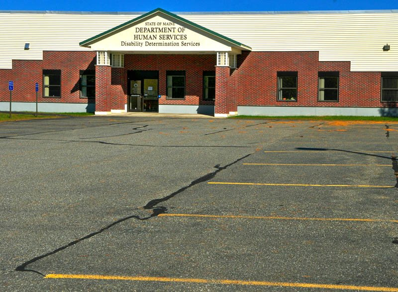 The parking lot in front of the closed Department of Health and Human Services Disability Determination Services office in Winthrop was empty on Tuesday.