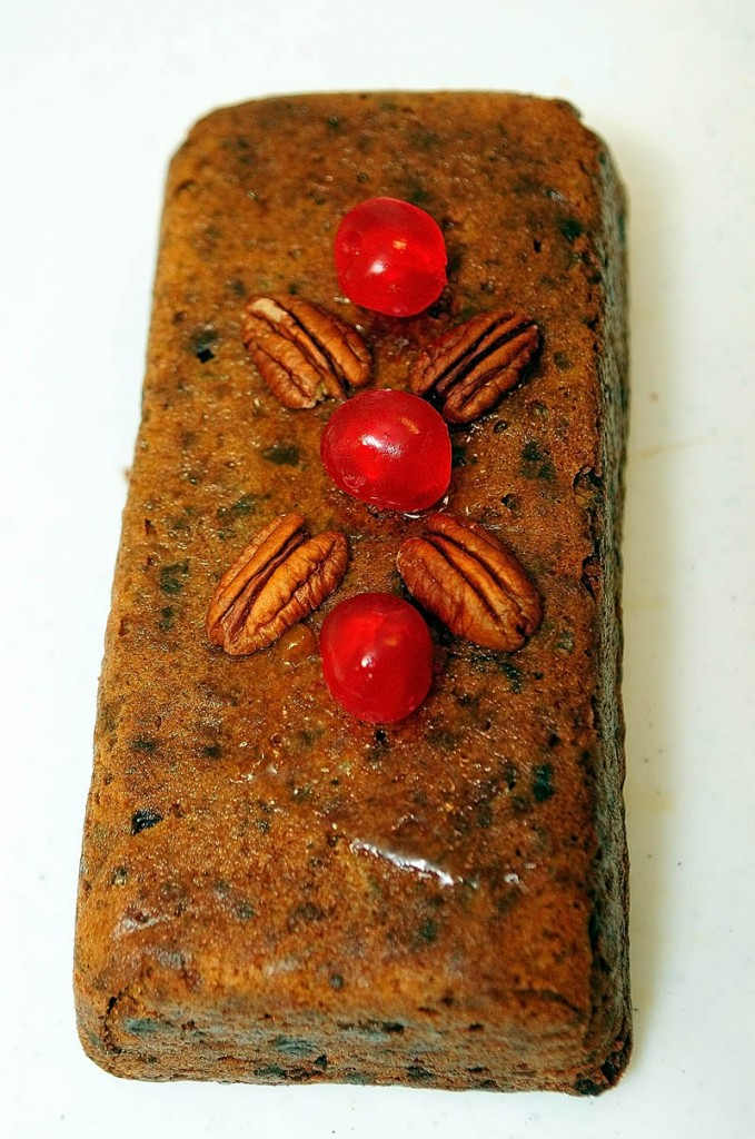 Peach jam holds cherries and nuts on this fruit cake, at Transfiguration Hermitage in Windsor.
