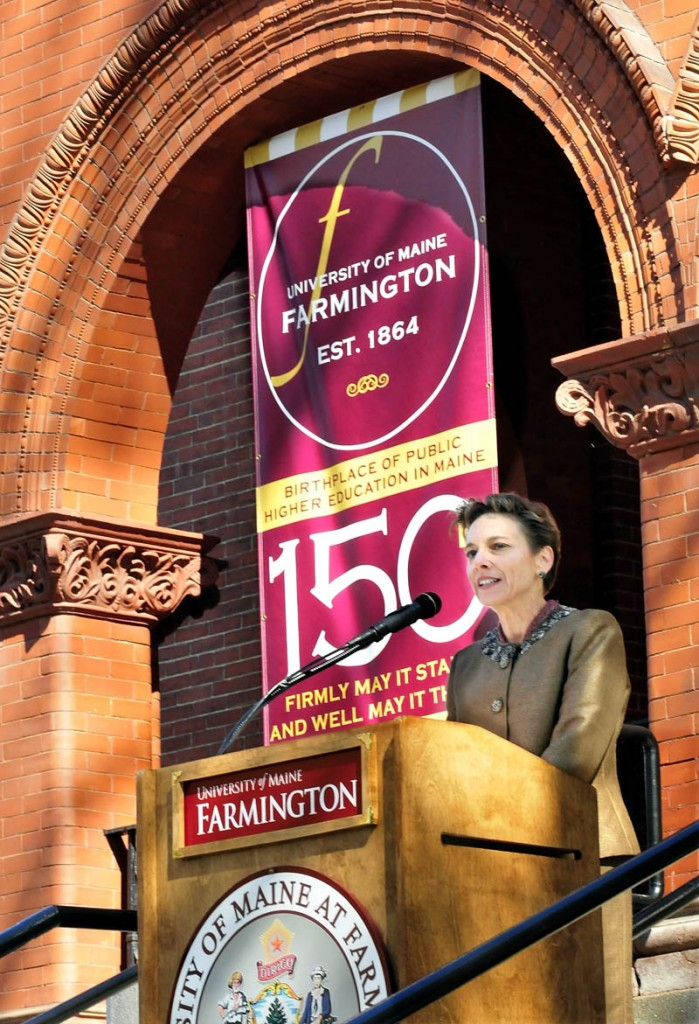 University of Maine at Farmington President Kathryn Foster speaks during the 150th anniversary celebration of the school on Wednesday.