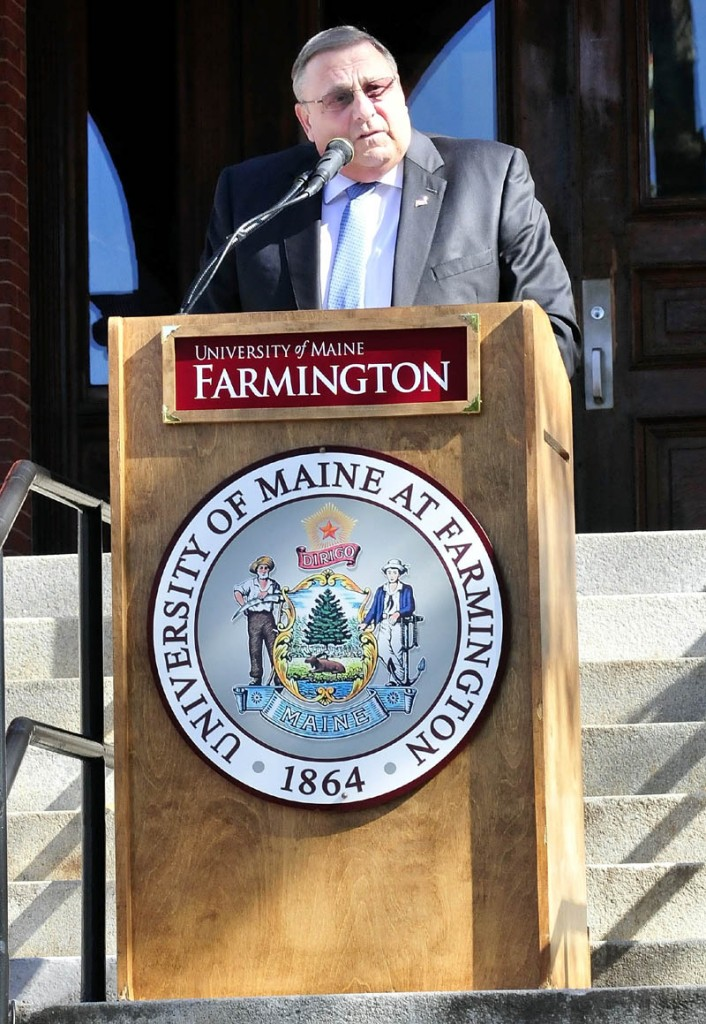 Gov. Paul LePage speaks during the 150th anniversary celebration of the Univeristy of Maine at Farmington on Wednesday.