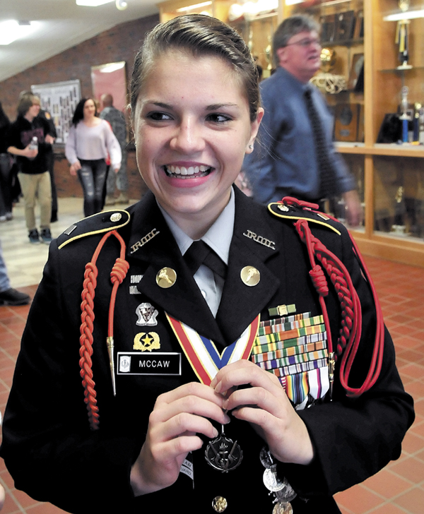 Nokomis Regional High School student and Battalion Commander of the school JROTC program Shellby McCaw said Tuesday that the Maine Supreme Judicial Court hearing of a case of a man charged with pushing his wife off a cliff was both confusing and interesting.