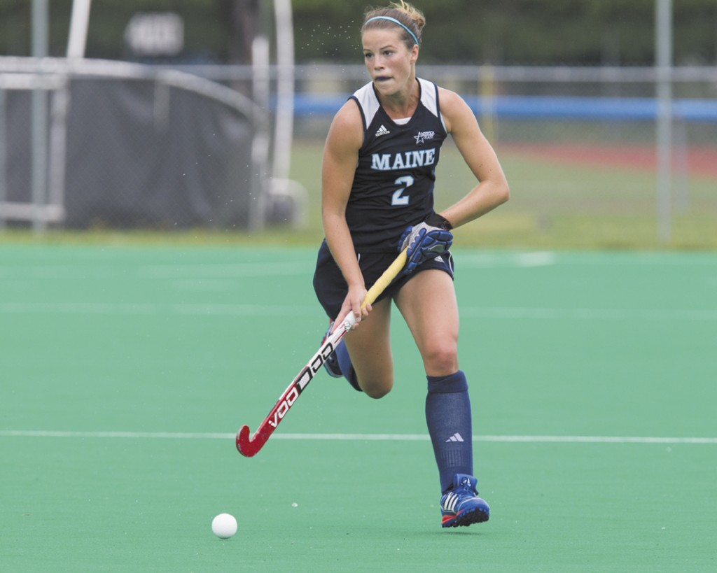 IMPORTANT ROLE: Gardiner Area High School graduate Becca Paradee has shifted to left defensive back and helped the University of Maine field hockey team become a better defensive team.