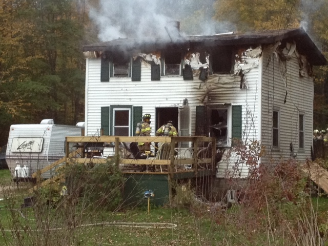 The site of a fire at 119 Granite Hill Road in Manchester Saturday morning.