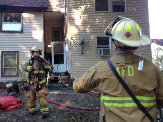 Augusta firefighters are searching for the origin of a kitchen fire this morning on Waldo Street in Augusta.
