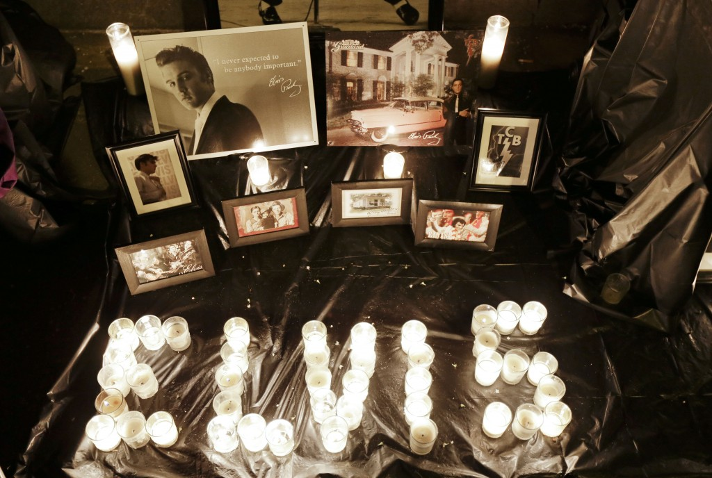 A memorial to Elvis Presley is on display outside Graceland on Aug. 15, 2012, to commemorate the 35th anniversary of Presley's death.