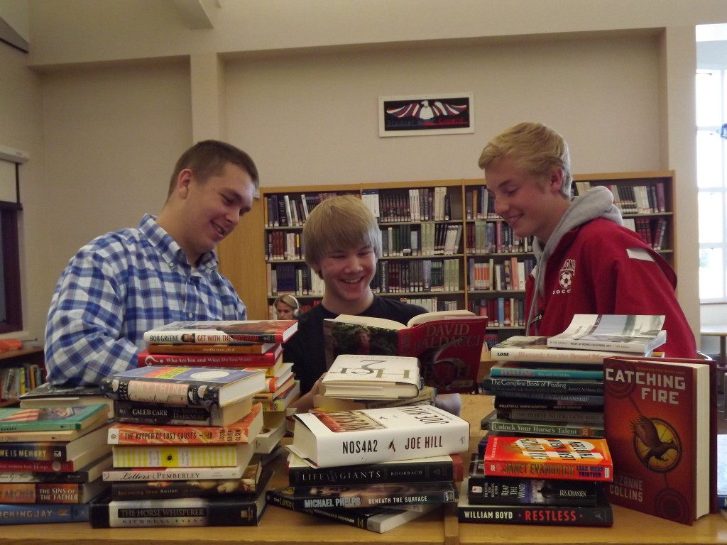 BOOK SALEBOOK SALE SATURDAY Contributed photo Messalonskee High School students Ben Weeks, Cody Stevens and Ryan Bilodeau helped to sort books for the Messalonskee High School library book sale, which will be held 9 a.m.-1 p.m. Saturday. The sale will be held in conjunction with the high school sports booster's craft fair set for 10 a.m.-3 p.m. Saturday and 9 a.m.-2 p.m. Sunday.