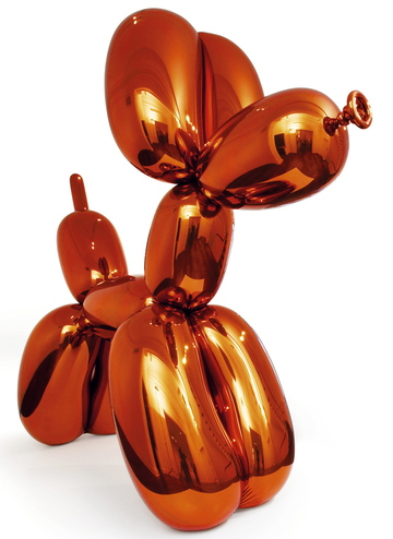 """Balloon Dog (Orange),"" a sculpture by Jeff Koons, sold for $58.4 million, a world auction record for the artist and a world auction record for a living artist, said Christie's."