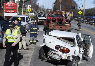 Three people were injured Sunday morning just after 10 a.m. on U.S. Route 201 in Farmingdale following a three car collision, according to police. A southbound Jeep crossed the center line, striking a northbound Subaru station wagon that was pushed into a Chevy Malibu, according to Kennebec County Deputy Sheriff Galen Estes.