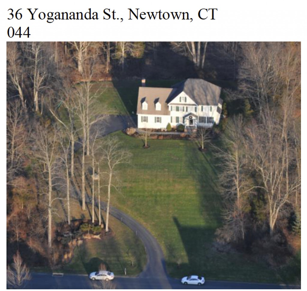 "This image contained in the ""Appendix to Report on the Shootings at Sandy Hook Elementary School and 36 Yogananda St., Newtown, Connecticut On December 14, 2012"" and released Monday, Nov. 25, 2013, by the Danbury, Conn., Stateís Attorney shows an aerial scene at 36 Yogananda St., where gunman Adam Lanza lived with his mother in Newtown, Conn. Lanza opened fire inside the school killing 20 first-graders and six educators, and killed himself as police arrived."