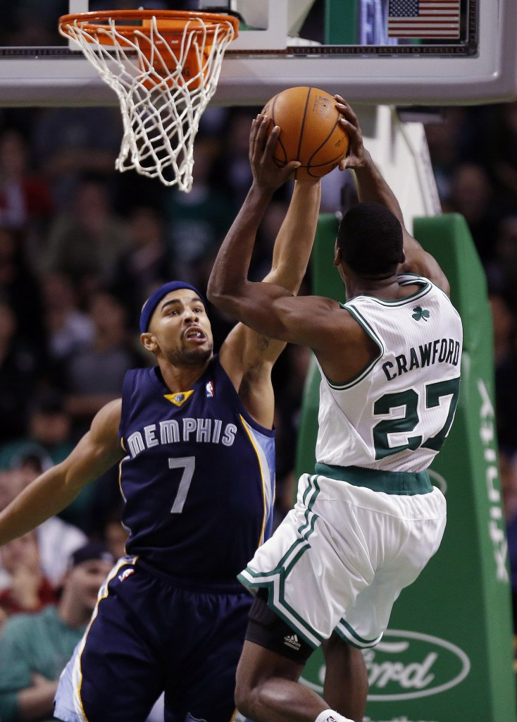 BLOCKED: Memphis Grizzlies' Jerryd Bayless (7) blocks a shot by Boston Celtics' Jordan Crawford (27) in the fourth quarter of their game Wednesday in Boston. The Grizzlies won 100-93.