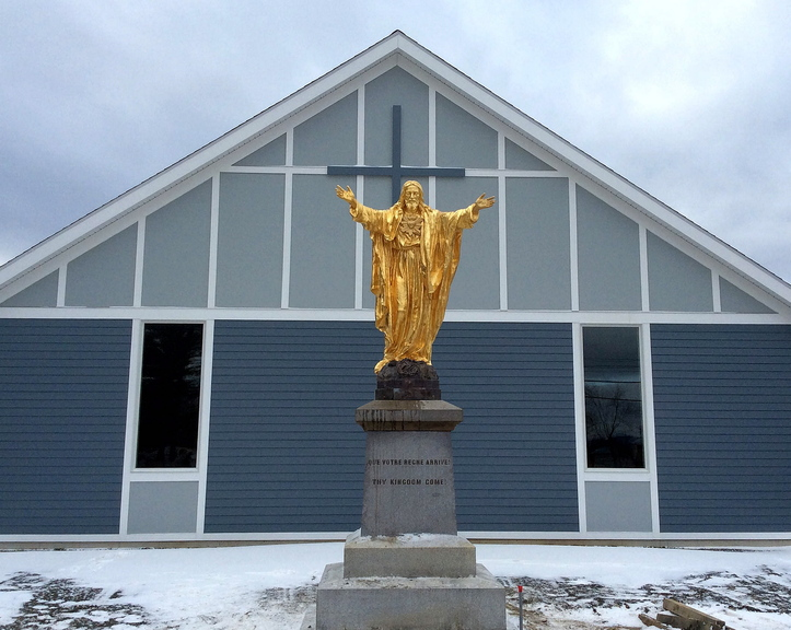 NEW STATUE: The Sacred Heart Jesus Christ statue has returned to Jackman after it had been vandilized in 2010. The roughly 700-pound statue was repaired by conservator Ron Harvey and now rests in front of the new St. Faustina church in Jackman.