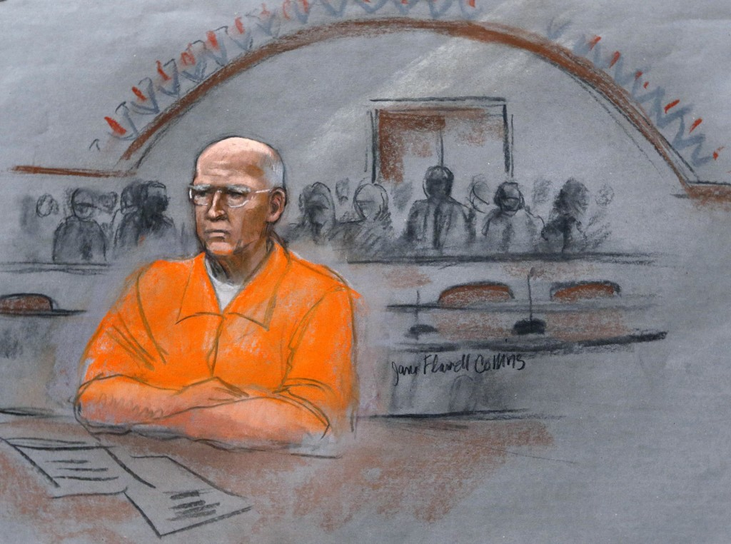 """In this courtroom sketch, James """"Whitey"""" Bulger sits at his sentencing hearing in federal court in Boston on Wednesday."""