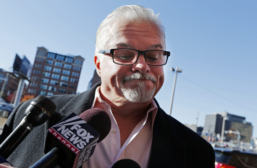 """Steven Davis, brother of Debra Davis, speaks with reporters while arriving for James """"Whitey"""" Bulger's sentencing hearing at federal court in Boston on Wednesday. Bulger was convicted in August in a broad indictment that included racketeering charges in a string of murders in the 1970s and 1980s, as well as extortion, money-laundering and weapons charges. Jurors could not agree whether Bulger was involved in Debra Davis' killing."""
