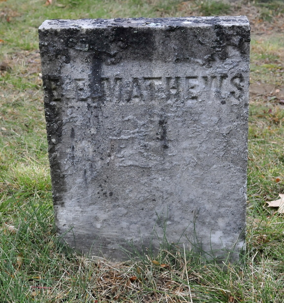 RIP: The grave marker of Edward E. Mathews in Pine Grove Cemetery in Waterville. Mathews is the first recorded murder victim in Waterville in 1847.