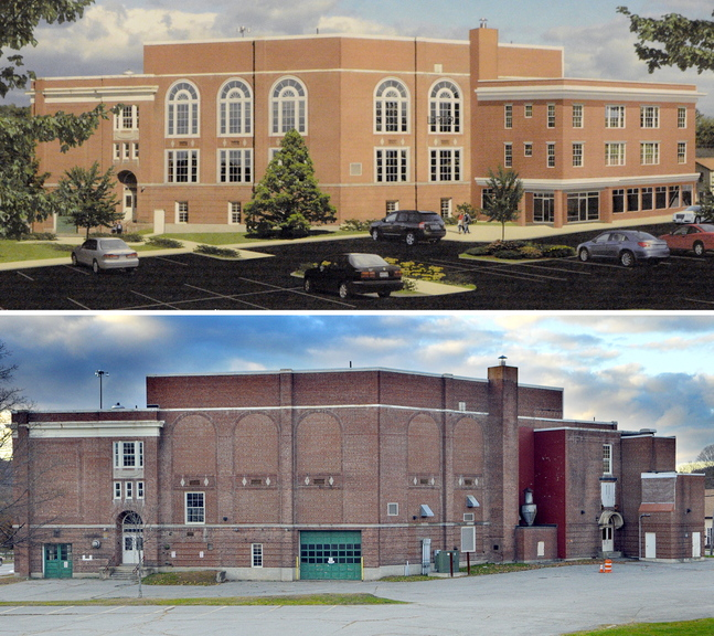 The top image is an artist's rendition of renovations at the old Cony High School Flatiron building showing a proposed addition, at right, and replacing windows that are bricked over. The bottom image is a photo taken Friday showing the current condition of the building.
