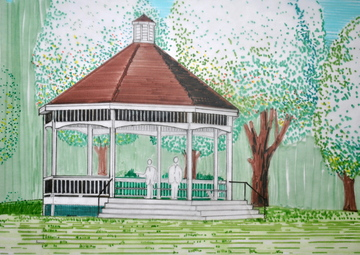 A landmark's return: This sketch of the new Gardiner Common gazebo, by Brian Kent of Kent Associates, shows roughly what the structure will look like once it's finished. The builder has proposed slight modifications, including a steeper roof and a larger cupola.