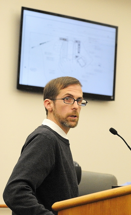 Approved: Jeremy Wadleigh, Islamic Society of Greater Augusta treasurer, testifies about the group's proposal to build a mosque during a planning board meeting on Tuesday in City Center in Augusta.