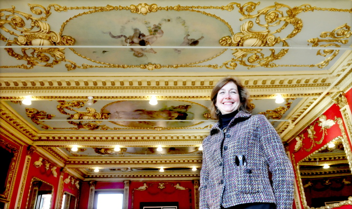 "SOCIAL HISTORY: Interior designer Lori Larochelle is designing the ornate ""Great Room"" into a functioning community room with contemporary furnishings inside the Gerald Hotel in Fairfield."