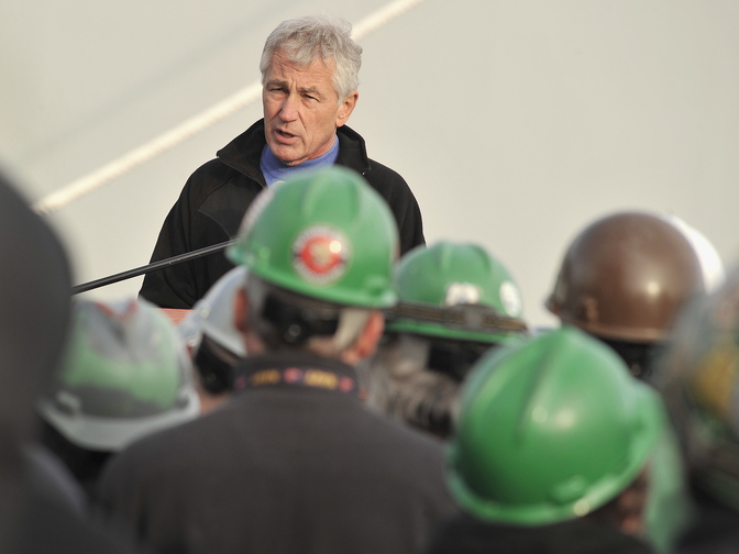 Defense Secretary Chuck Hagel speaks to shipbuilders following his tour of the new USS Zumwalt destroyer at Bath Iron Works on Thursday.
