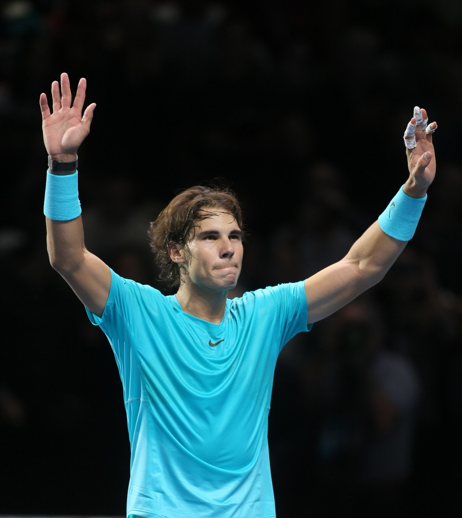 Rafael Nadal celebrates after defeating Roger Federer in their ATP world Tour Finals semifinal match at the O2 Arena on London on Sunday.