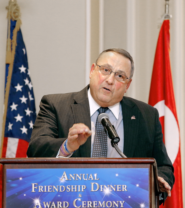 Gov. Paul LePage gives a speech at the Sable Oaks Marriott in South Portland Tuesday after accepting a leadership award.
