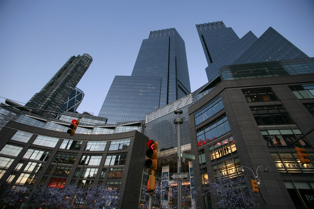 This Feb. 1, 2010, file photo, shows the Time Warner Center, in New York. The media conglomerate reports earnings Wednesday.