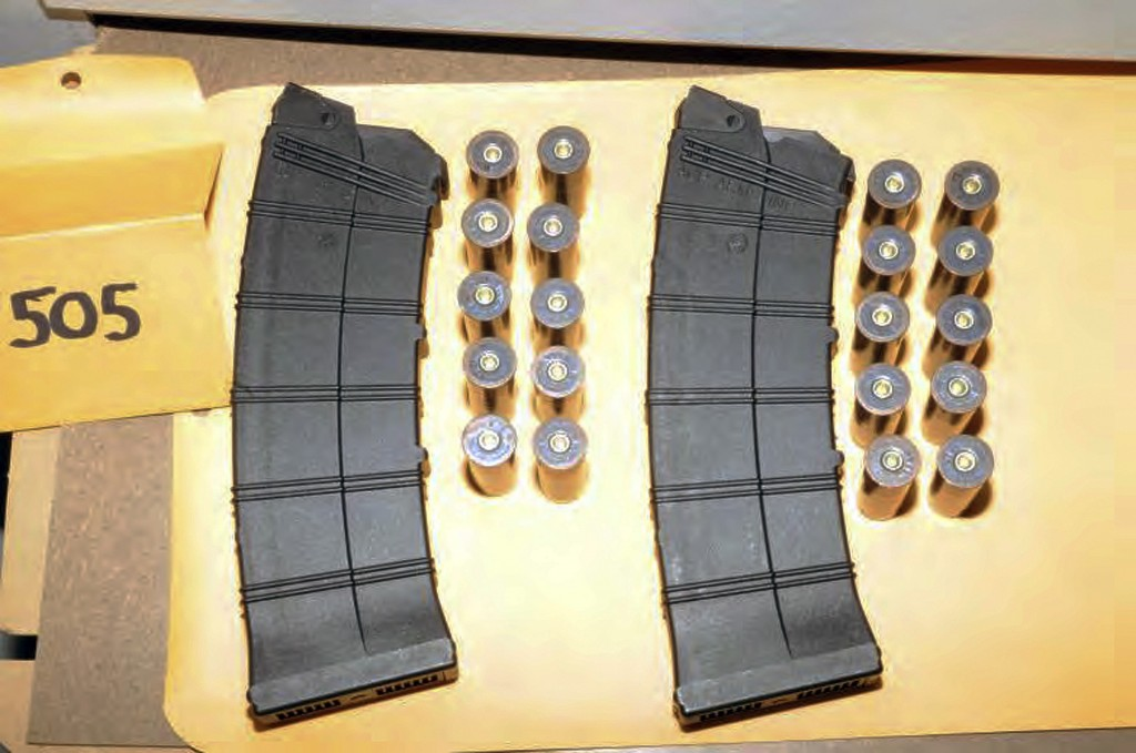 """This image contained in the """"Appendix to Report on the Shootings at Sandy Hook Elementary School, Newtown, Connecticut On December 14, 2012"""" and released Monday, Nov. 25, 2013, by the Danbury, Conn., State's Attorney shows ammunition found at Sandy Hook Elementary School in Newtown, Conn. Adam Lanza opened fire inside the school killing 20 first-graders and six educators before killing himself as police arrived"""