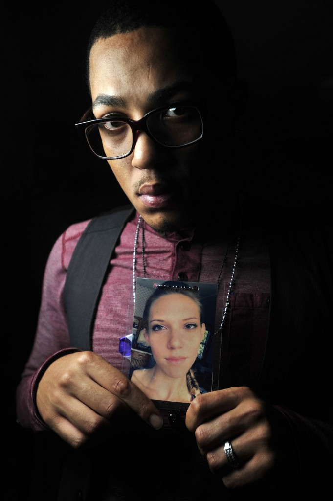 "RAISING AWARENESS: Tim Brown, 24, of Fairfield, a close friend of Jillian Jones, who was stabbed to death Nov. 13 in Augusta, started a Facebook page called ""Teal Project"" in her memory to raise awareness about domestic violence."