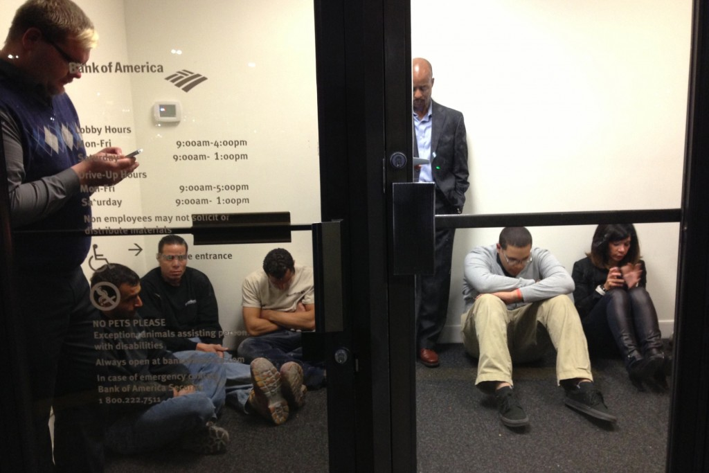 People camp at Bank of America at the Garden State Plaza on Monday during a lockdown of the Garden State Mall.