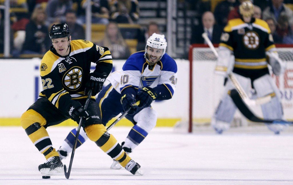 Boston Bruins right wing Shawn Thornton (22) brings the puck up ice as he is pressured by St. Louis Blues center Maxim Lapierre (40)during the second period of an NHL hockey game, Thursday, Nov. 21, 2013, in Boston. (AP Photo/Charles Krupa)