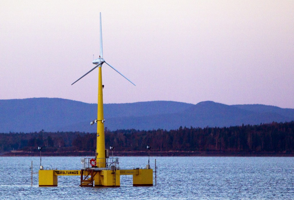 A floating wind turbine is shown off the coast of Castine. With Norwegian company Statoil's decision to pull its $120 million dollar project from consideration in Maine in late October 2013, the future of offshore wind production in the state now lies primarily in the hands of the University of Maine.