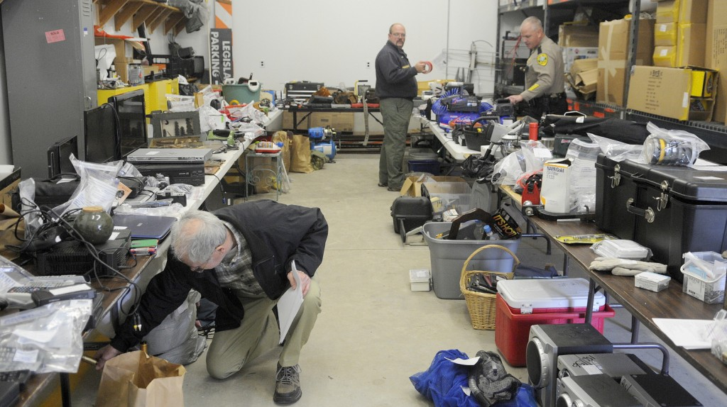 RECOVERED: Hundreds of stolen items were returned to victims of burglaries Wednesday at the Kennebec County Sheriff's Office in Augusta. Deputies and state police recovered tools and household items from a burglary ring in Wayne.