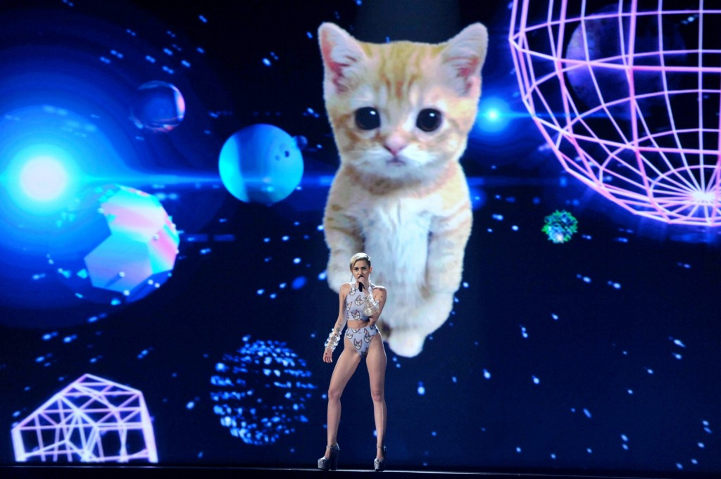 The Associated Press Miley Cyrus performs on stage at the American Music Awards at the Nokia Theatre L.A. Live on Sunday, Nov. 24, 2013, in Los Angeles.